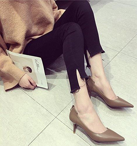 Ajunr La lumière pointe fine port et 6cm chaussures à talons hauts chaussures pour femmes à la mode de transport quotidien kaki sauvage Sandales,Femmes,Loisirs,été Mode