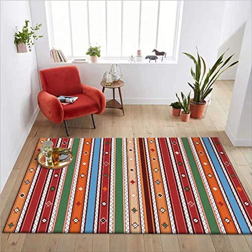 KCMDA Carpet Pad Carpet Non-Slip Square Carpet Living Room Carpet Children'S Room Carpet Color Striped Thick Carpet Area Bedroom Mechanical Washing Carpet / 80X160 Cm (2.6X5.2 Ft)