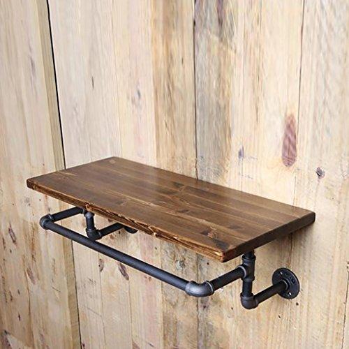 ZXZWJ Wandregal LOFT Wooden Kleiderständer Retro Iron Water Pipe Shelf Bad Handtuch Rack WC Bad Handtuch Regal Wand Ausstellungsstand (größe : 120 * 20 * 2CM)