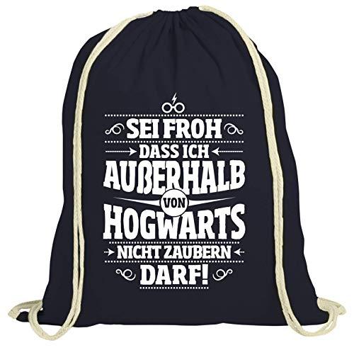 ShirtStreet Fanartikel Fan Kult Film natur Turnbeutel Rucksack Gymsac Außerhalb von Hogwarts, Größe: onesize,dunkelblau natur