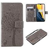 Cofola Coque LG G3 Mini/LG G3s, Gaufrage Arbre et Chat Leather Cuir Rabat Wallet Case Housse Cover...