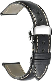 iStrap Genuine Leather Watch Band Padded Calfskin Strap Steel Butterfly Deployant Clasp with Push Buttons Super Soft-18mm ...