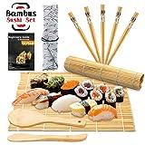DYFFLE Sushi Set, 10 Teile - Sushi Maker Set für Anfänger, Sushi Selbst Machen Set (2 Sushi Matte+1 Reisstreuer+1 Paddy Paddel+5 Stäbchen+1 Anweisungen)
