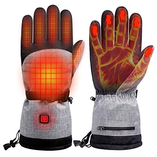 TWOZOZO Electric Heated Gloves for Men and Women, 3 Heating Levels, Up to 8hrs Warmth, Waterproof Breathable Winter Gloves Touchscreen Ski Motorcycle Hiking Cycling Gloves for Men, Women
