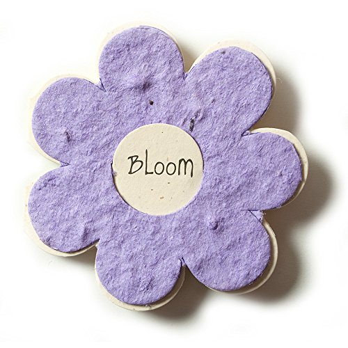 Bloomin Mini Lavender Flower-Shaped Seed Paper Enclosure Cards 9 Card Set - Perfect for Valentine's Day, Mother's Day and Wedding Anniversaries! Size: 2.25 x 2.25'