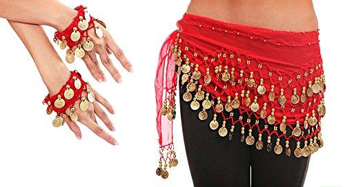 MyBeautyworld24 Belly Dance Bauchtanz Kostüm rot Hüfttuch inkl. ein paar Handketten Fasching Karneval Tanzaufführung