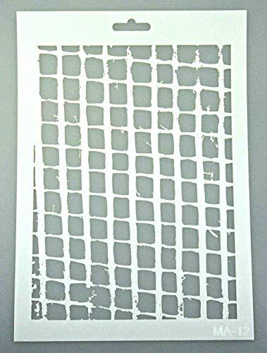 Schablone zum Malen und Zeichnen A4, 21 x 29 cm, Stencil, wiederverwendbar, Motiv Netz, Gitter, Zaun, Gefangenheit, Abstrakt