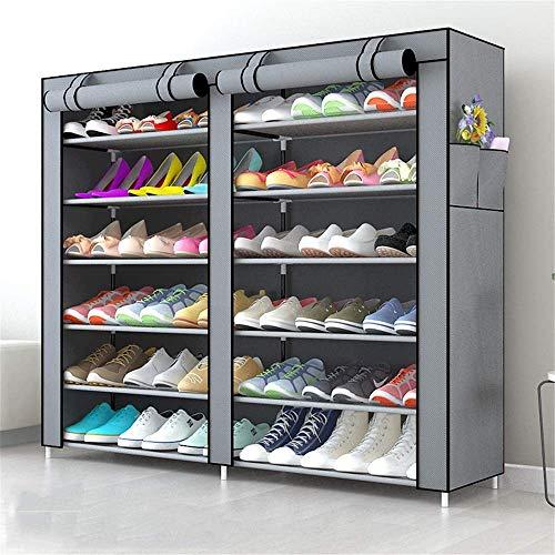 Decoración de muebles Caja de zapatos plegable Caja de zapatos Oxford Paño Rack Large Almacenamiento a prueba de polvo Gabinete de zapatos Doble Fila Grande Capacidad Multi-capa Montaje Simple Montaje