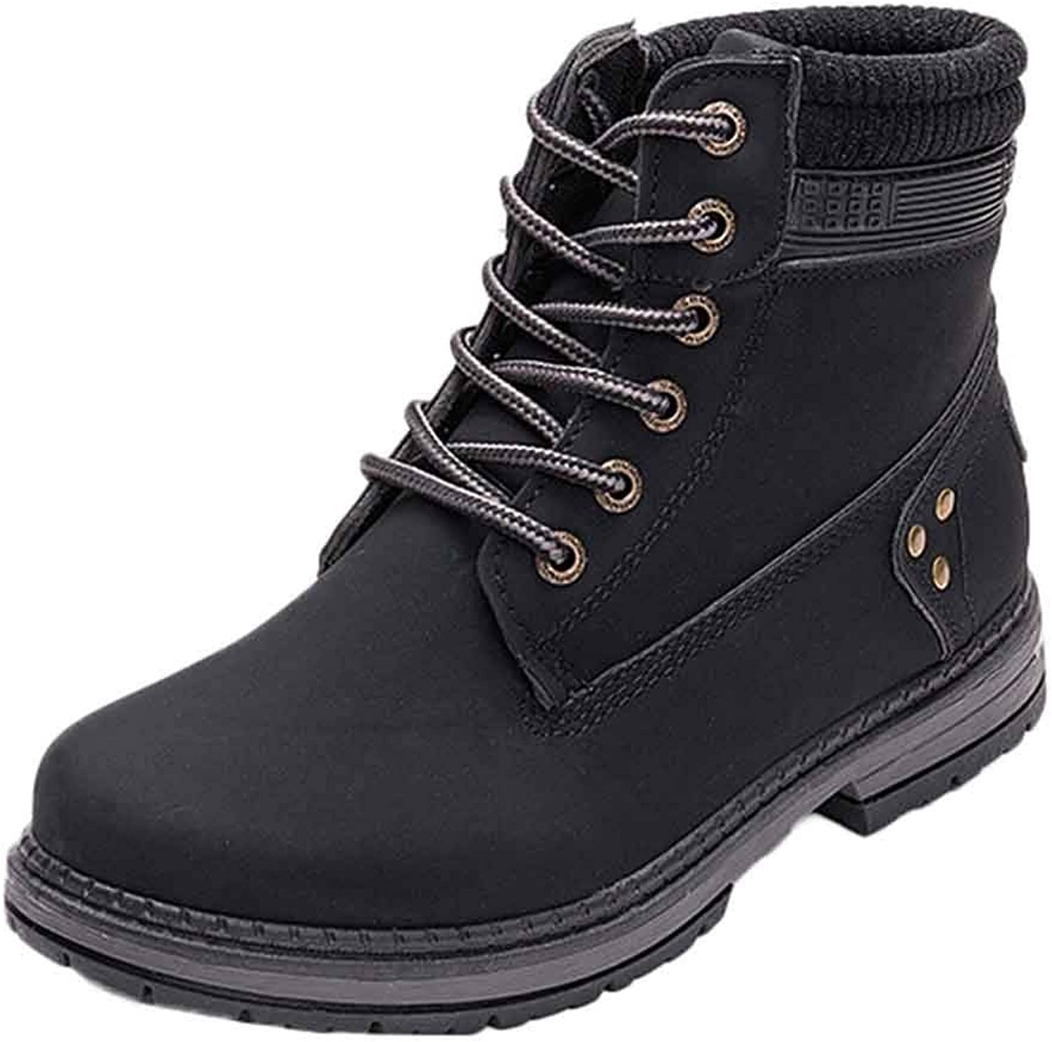 GouuoHi Womens Boots Women Solid Lace Up Fashion Basic Classic Daily Stylish Hipster Warm Casual Ankle Boots Round Toe shoes Student Snow Martin Boots