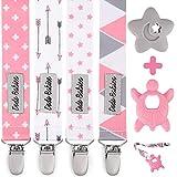 Dodo Babies Lot de 4 attache sucette, 2 jouets de dentition, pour les filles, dessins modernes, attache Tétine universelle, jouet...