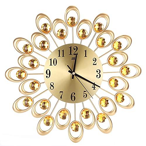 Reloj De Pared 3D, Hierro, Estilo Oro Diamantes Silencioso Reloj Decorativo Único Forma Pavo Real Pared Moderno Reloj Decoración Casero Reloj Para Sala De Estar Escolar De Oficina,1