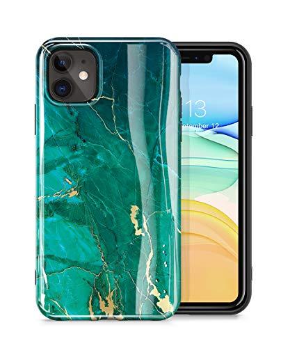 GVIEWIN Marmor für iPhone 11 Hülle, Shlank Glänzend Weich TPU Gummigel Schutzhülle Cover Rundumschutz Robust Case Stein Marmor Handytasche Handyhülle iPhone 11 6.1 Zoll 2019(Grün/Golden)