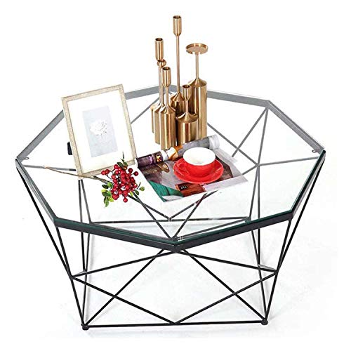 KEDUODUO Modern Side Table/Coffee Side Table Polygon Transparent Glass Table Clear Sofa Dining Table for Living Room/Balcony or Home Office, M 70 cm