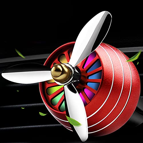 PPYA Car Air Fresheners Vent Clip, Spin Freshener Car Perfume Propeller Shape Led Light Fan Perfume Diffuser Vent Clip Decor for Purifying Air (Red)