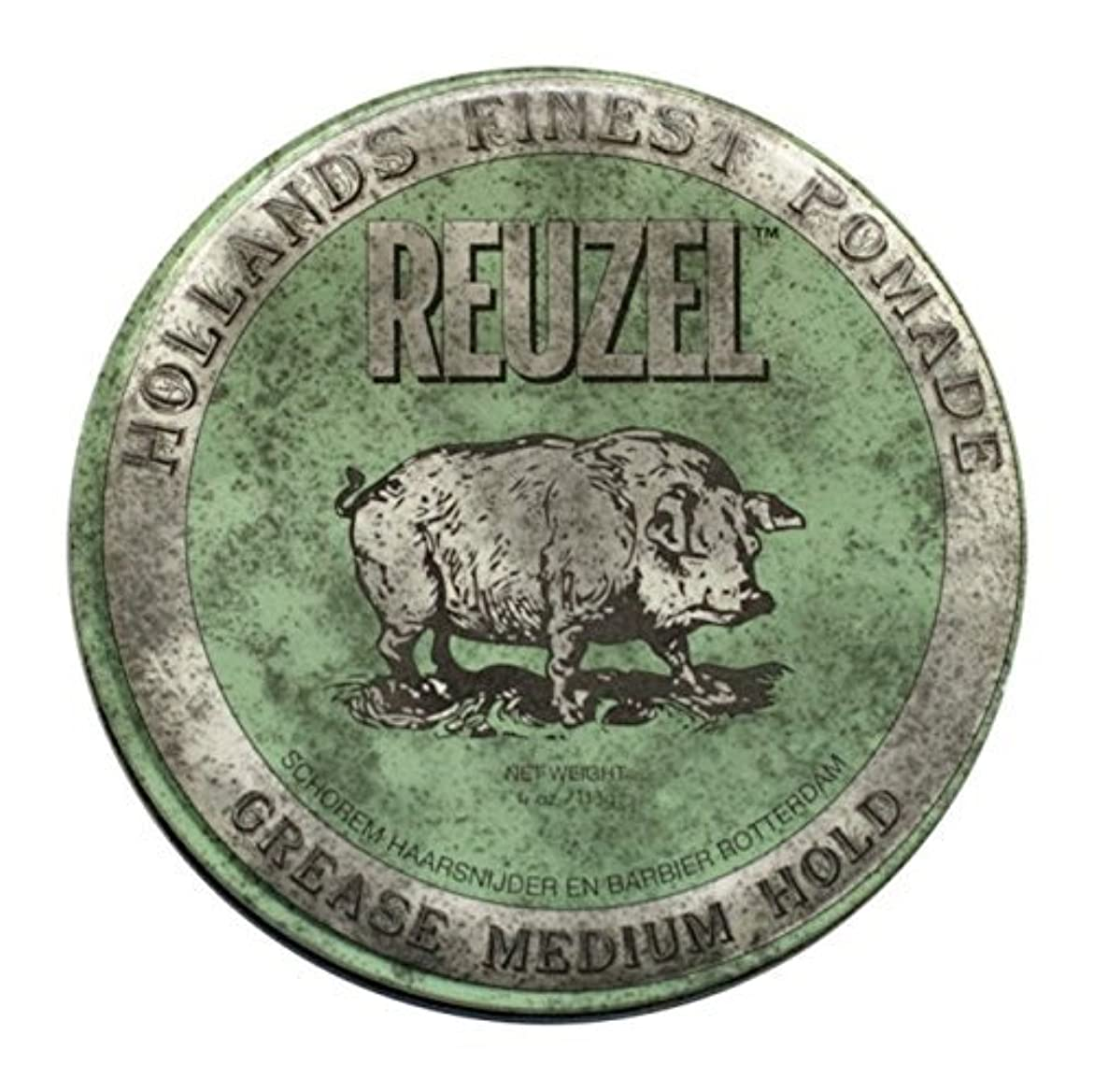 バングラデシュ一時的床Reuzel Green Grease Medium Hold Hair Styling Pomade Piglet 1.3oz (35g) Wax/Gel by Reuzel