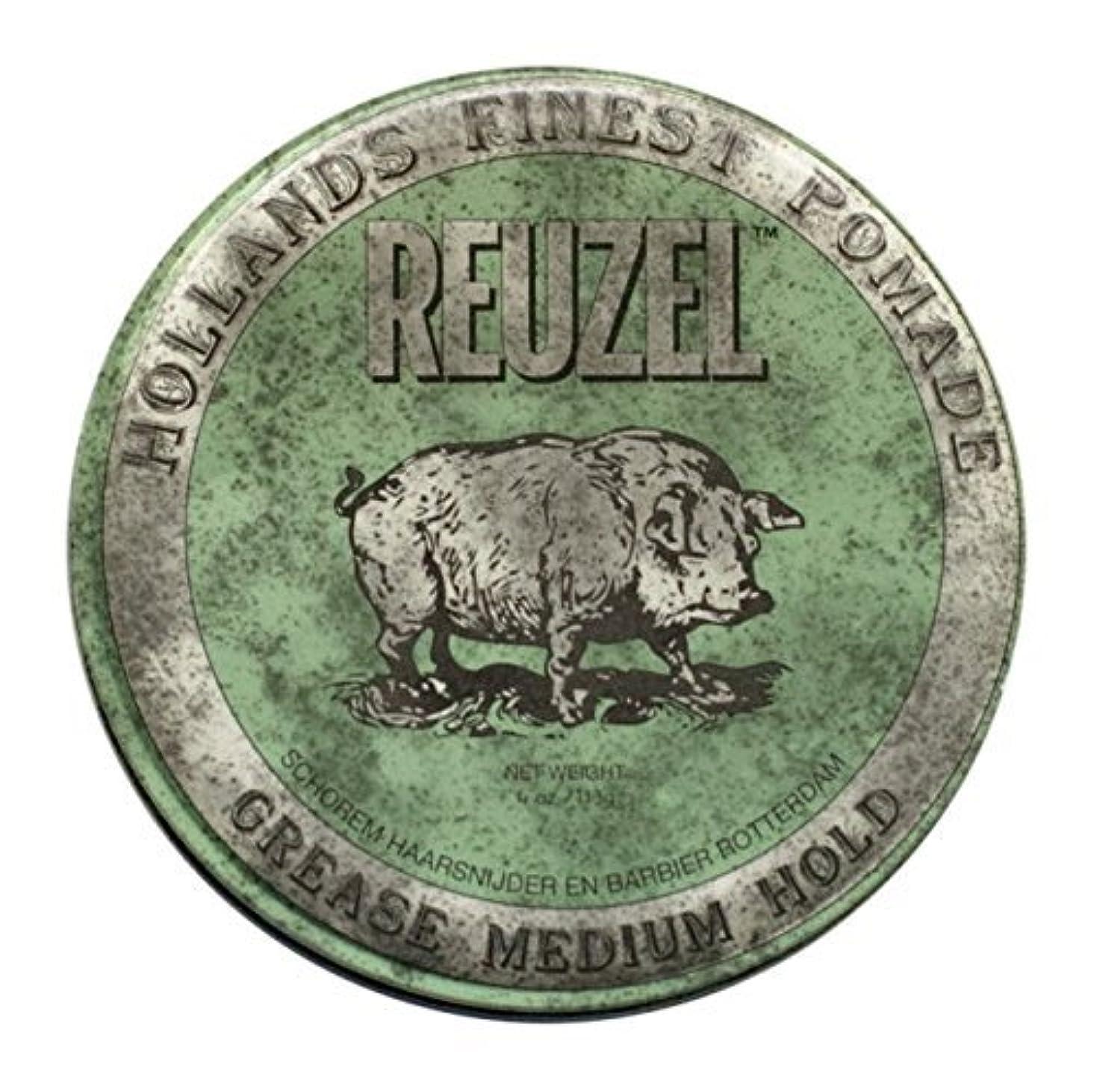ジャグリングまばたき民間人REUZEL Grease Hold Hair Styling Pomade Piglet Wax/Gel, Medium, Green, 1.3 oz, 35g [並行輸入品]