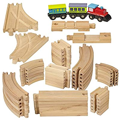 Dragon Drew Wooden Train Tracks - 55 Piece - Compatible with Brio, Thomas, Chuggington and All Major Brands – Accessories and Expansion Kit Includes 52 Tracks and 3 Cute Cars by Dragon Drew