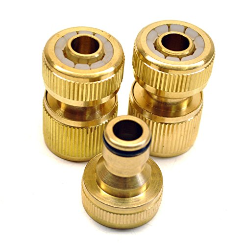 Raccord de tuyau d'arrosage en laiton arrosage rapide Appuyez sur Set connecteurs 3pc
