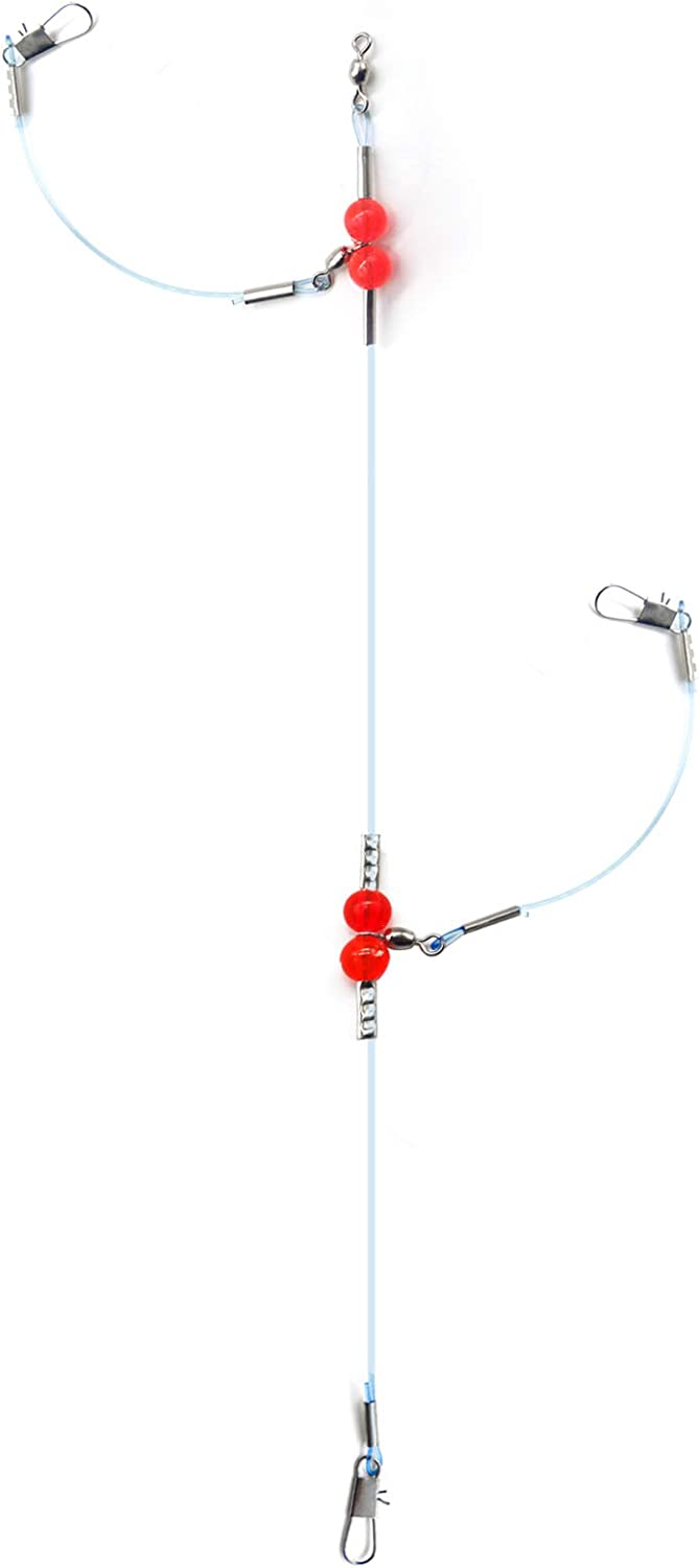 Fishing Wire Leader Surf Fishing Tackle Fishing Nylon-Coated Leaders Saltwater Carolina Rigs for Bass Fishing with Swivels and Snaps 1Arm// 2 Arms