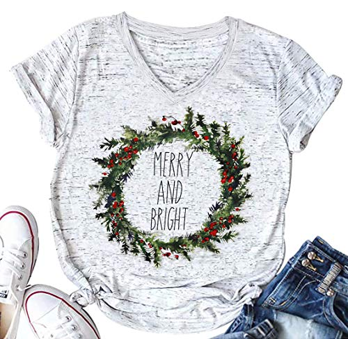 UNIQUEONE Merry and Bright Christmas T Shirt Women Short Sleeve V-Neck Casual Tops Tee Size M (Gray)