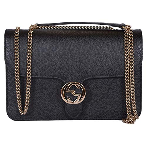 Gucci Women's Black Leather 510304 Interlocking GG Crossbody Purse Handbag New