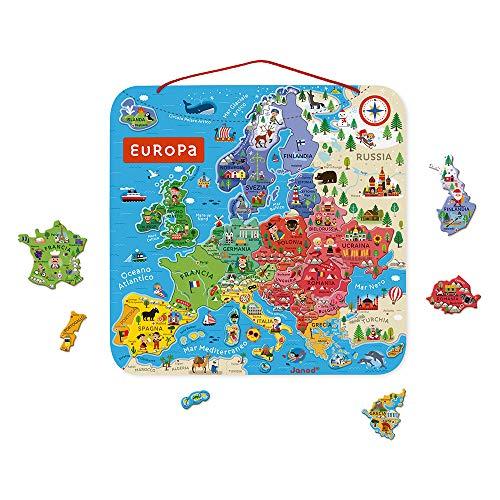 Janod J05475 Puzzle der Europakarte aus Holz-40 magnetische Puzzleteile-45 x 45 cm-Italienische Version-Lernspiel ab 7 Jahren