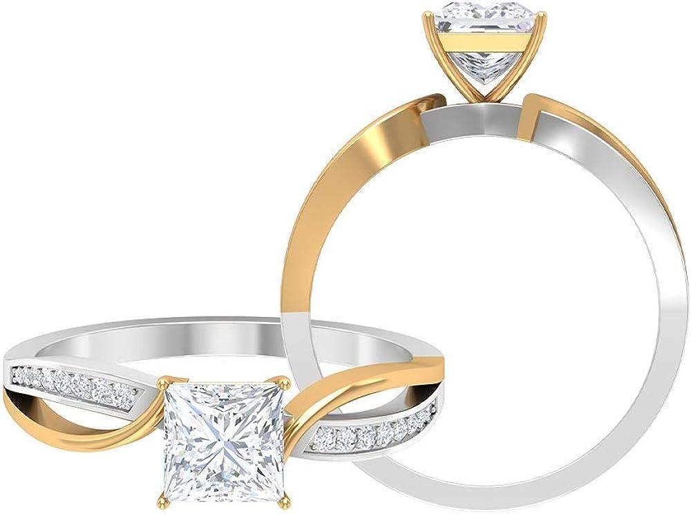1.08 CT D-VSSI Moissanite Wedding Rings Set, Bridal Rings Set, Anniversary Rings, Solitaire Engagement Rings, Side Stone Rings, 14K Gold