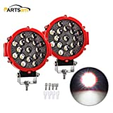 Pair 7 Inch 5100LM 51W Spot LED Fog Light Bar, Round Pods 6500K IP68 OffRoad Driving Lamp Headlight Fog Light for Jeep Offroader Truck Car ATV SUV Construction Camping Hunters Boat, 2 years Warranty