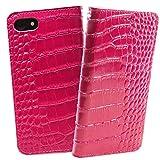 [クロコダイル x 牛革] iphone7 iphone8 apple ReZuell. 手帳型 クロコ レザー ケース iphone 7/8 (ピンク)
