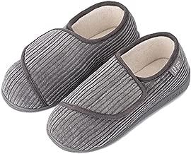LongBay Women's Furry Memory Foam Diabetic Slippers Comfy Cozy Arthritis Edema House Shoes (9 B(M), Gray)