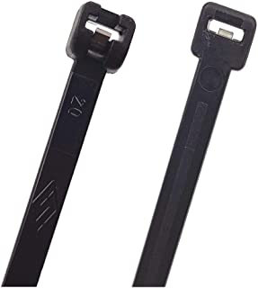"""Cable Ties with Metal Tooth Stainless Steel Locking Device, 8"""" to 14"""", Black, 100 Pieces, Black"""