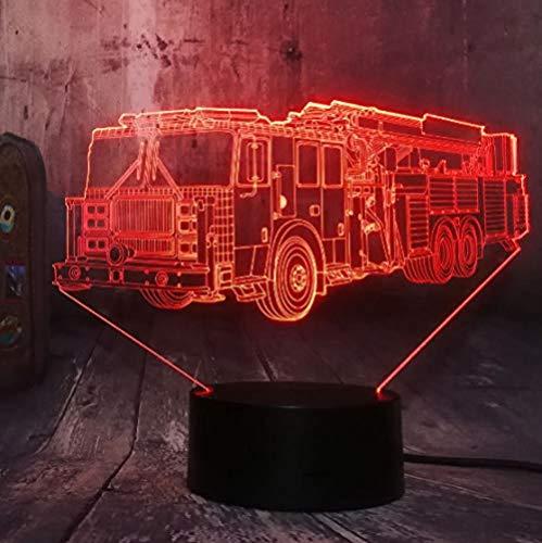 Veilleuse 3D Cool Fire Engine Voiture 3D Led 7 Couleur lampe de Poche Nuit Lumière Chambre Lampe de Bureau Décor À La Maison Enfant Enfant De Noël Halloween Jouet Cadeau