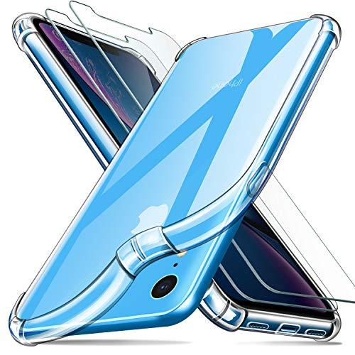 Leathlux Funda iPhone XR + [2 Pack] Cristal Templado Protector de Pantalla, Ultra Fina Silicona Transparente TPU Carcasa Airbag Anti-Choque Anti-arañazos Cover iPhone XR