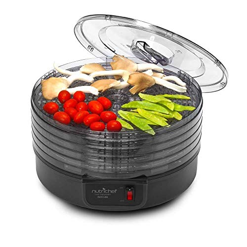 Electric Countertop Food Dehydrator Machine - Professional Multi-Tier Food Preserver, Beef Jerky Maker, Fruit Vegetable Fish Poultry Dryer w/ 5 Stackable Trays, 180° F Max Temp - NutriChef (Renewed)