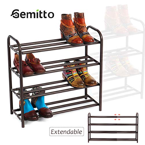 """GEMITTO 4-Tier Shoe Organizer Rack, Expandable Heavy Duty Home Shoe Storage Shelf, Holds 20+ Pairs of Shoes, for Closet Bedroom Entryway (23.6""""~41.7""""x8.9""""x24.2"""") (Brown)"""