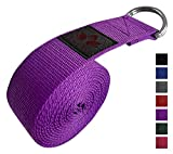 Clever Yoga Leg Stretching Strap - Purple 8 Foot Yoga Strap