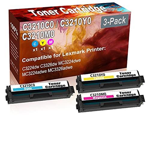 3-Pack (C+Y+M) Compatible C3224dw C3326dw MC3224dwe Laser Toner Cartridge (High Capacity) Replacement for Lexmark C3210C0 C3210Y0 C3210M0 Printer Toner Cartridge