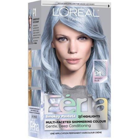 Pastel Blue Hair Dye w/Triple Highlights Permanent Hair Color