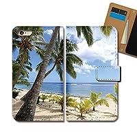 Galaxy A52 5G SC-53B ケース 手帳型 海 手帳ケース スマホケース カバー 海 リゾート 砂浜 朝日 夕日 ヤシ E0297040118104