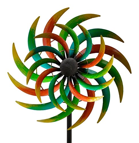 E-X WINDRAD °Art Ferro ° Sonne ° Metall° Windspiel° GARTENSTECKER° 42 x 16,5 x 170 cm
