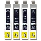 Go Inks E-711 Cartouche d'encre Compatibles pour remplacer Epson T0711 à utiliser avec les imprimantes Epson Stylus, Noir , Lot de 4