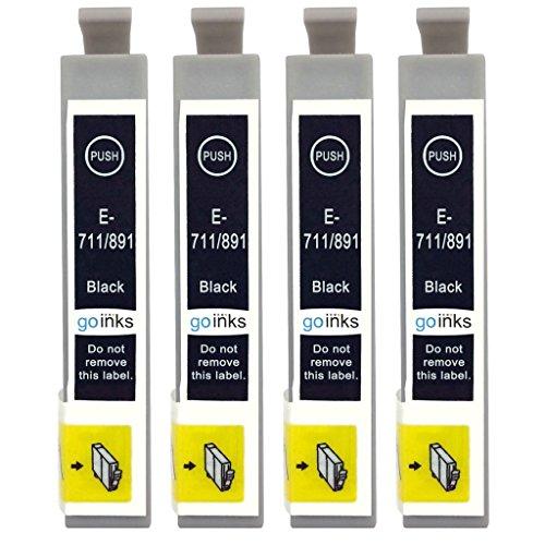 Go Inks E-711 Cartucce di inchiostro Nero per sostituire Epson T0711 compatibile per Stampanti Epson Stylus (4 Inchiostri)
