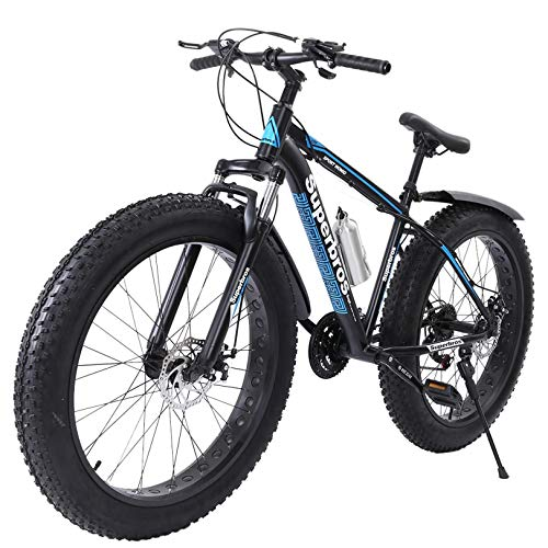 Outroad Fat Tire Mens Mountain Bikes, 26 inch 21 Speed Double Disc Brake Snow Bike, Suspension Fork High-Carbon Steel Frame Sand Bike, Anti-Slip Bikes, Max Load 440lbs【US Stock】 (Blue, 26in)