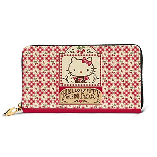Hello Cartoon Kitty Cartera larga de cuero rojo Billfold Advanced impermeable carteras lujo moda monedero para cremallera alrededor del titular de la tarjeta grande viaje bolso embrague tamaño
