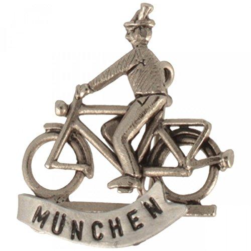 Hutanstecker | Hutabzeichen | Hutschmuck | Anstecker – München Radfahrer mit Hut aus 100% Messing – 3 x 3,5 cm - MADE IN GERMANY