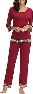 Womens Modal Leopard Print Pajamas Set 3/4 Sleeves Sleepwear Set Loungewear Top with Pants