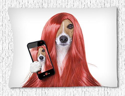 Irma00Eve Animal muur opknoping tapijt, hond met lange rode pruik nemen foto's tapijt slaapkamer woonkamer slaapzaal muur opknoping Hippie tapijt 40X60 Inch