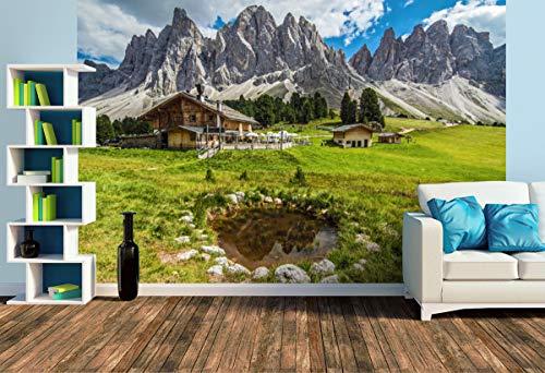 Premium Foto-Tapete Geisler Alm in den Dolomiten (versch. Größen) (Size L | 372 x 248 cm) Design-Tapete, Wand-Tapete, Wand-Dekoration, Photo-Tapete, Markenqualität von ERFURT