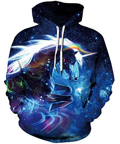 Goodstoworld Pullover Herren Hoodie Damen Sweatshirt 3D Blue Unicorn Kapuzenpullover Hoody Langarm Fleece Kapuzenjacke Top XXL