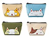 iSuperb Pack of 4 Coin Purse Oxford Small Zipper Wallet for Coins Cash Credit Card USB Charger Cable Headset Keys Lipstick (Cute Cat)